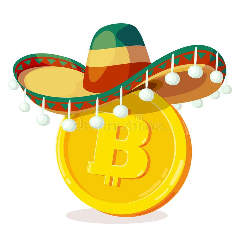 Bitcoin in mexican hat. Cartoon digital currency. Gold cryptocurrency. Money and finance symbol. Miner bit coin criptocurrency. Vector illustration stock illustration