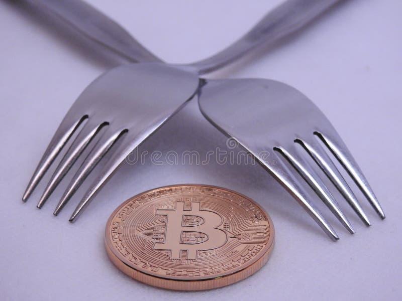 Bitcoin miękkiej części rozwidlenie obrazy stock