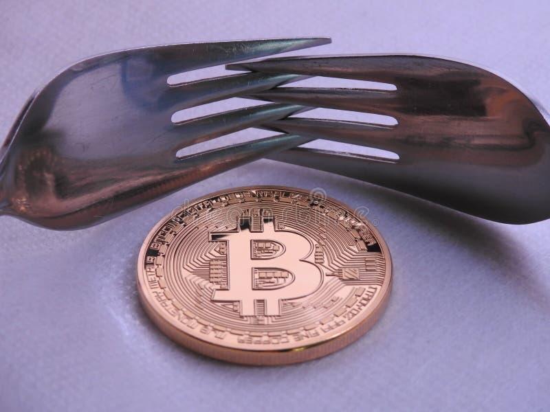 Bitcoin miękkiej części rozwidlenie zdjęcia stock