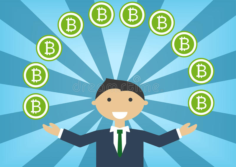 Bitcoin millionaire illustration as example for success in technology industry vector illustration