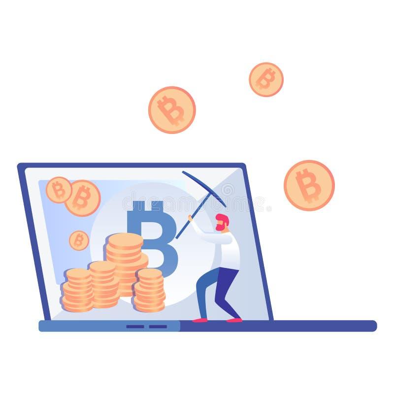 Bitcoin, minatore Vector Illustration di Cryptocurrency illustrazione di stock