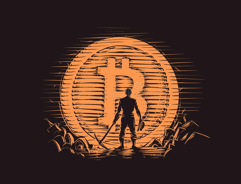 Bitcoin Miner standing near big bitcoin coin. Vector. royalty free illustration