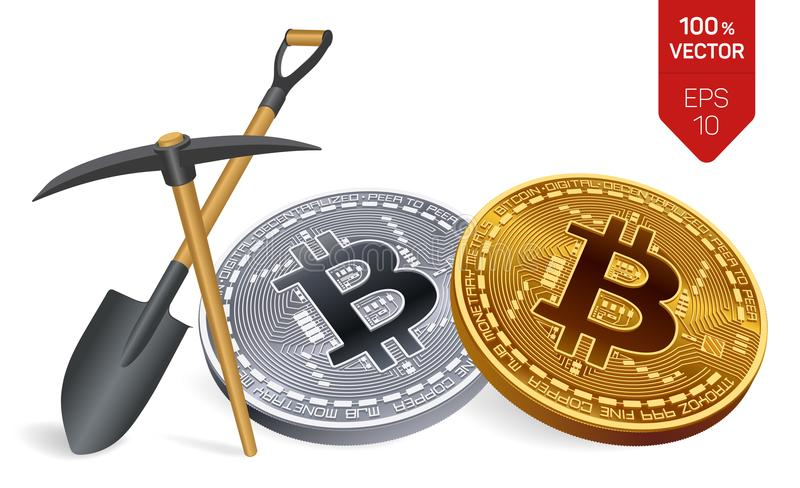 Bitcoin mining concept. 3D isometric Physical bit coin with pickaxe and shovel. Cryptocurrency. Golden and silver bitcoins. Bitcoin mining concept. 3D isometric vector illustration