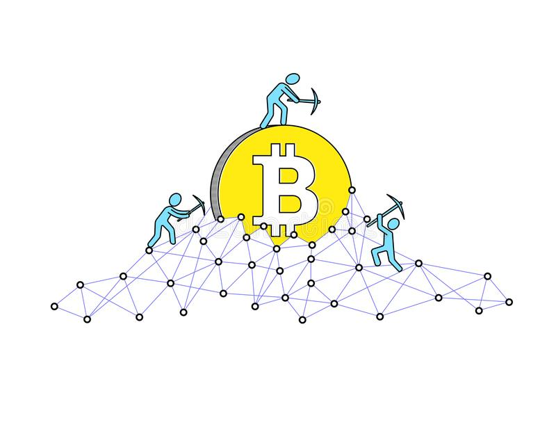 Bitcoin mining concept and earning cryptocurrency. Vector illustration. Blockchain technology vector illustration