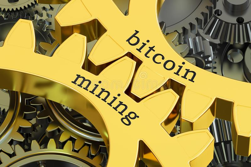 Bitcoin Mining concept on the gearwheels, 3D rendering. Bitcoin Mining concept on the gearwheels, 3D royalty free illustration