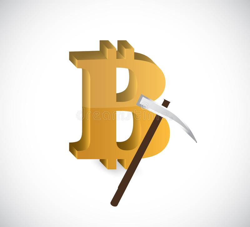 Bitcoin mining  Concept illustration royalty free illustration