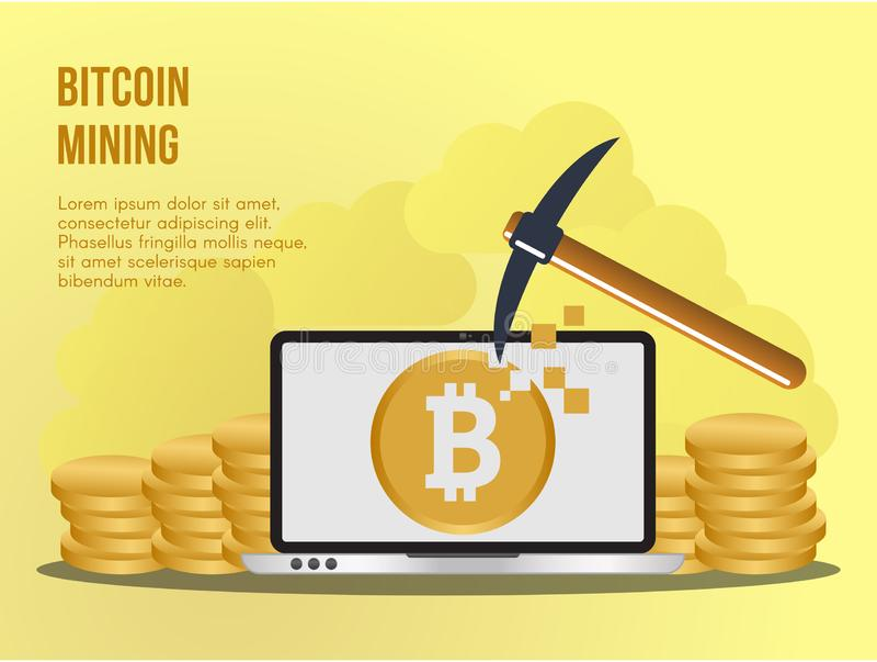Bitcoin mining concept illustration vector design template royalty free illustration