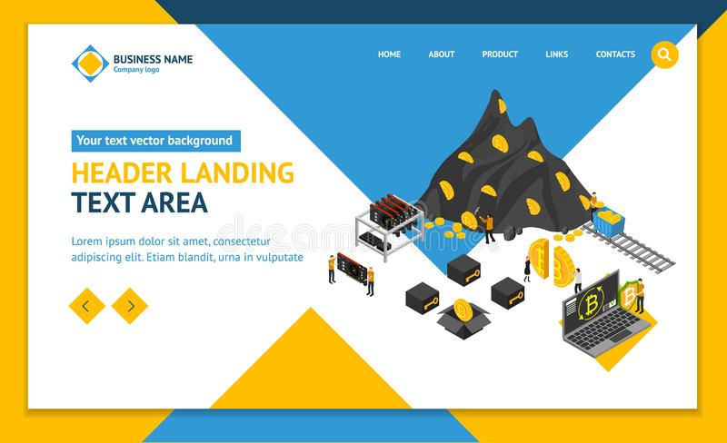 Bitcoin Mining Concept Landing Web Page Template 3d Isometric View. Vector stock illustration