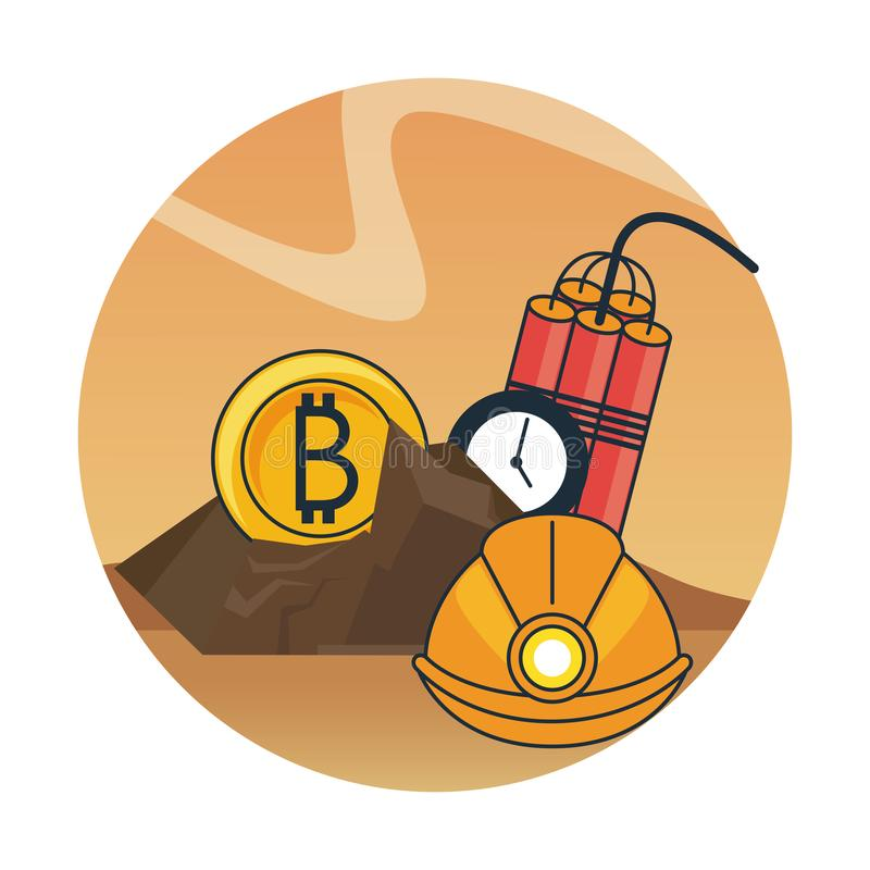 Bitcoin mining with helmet and tnt royalty free illustration