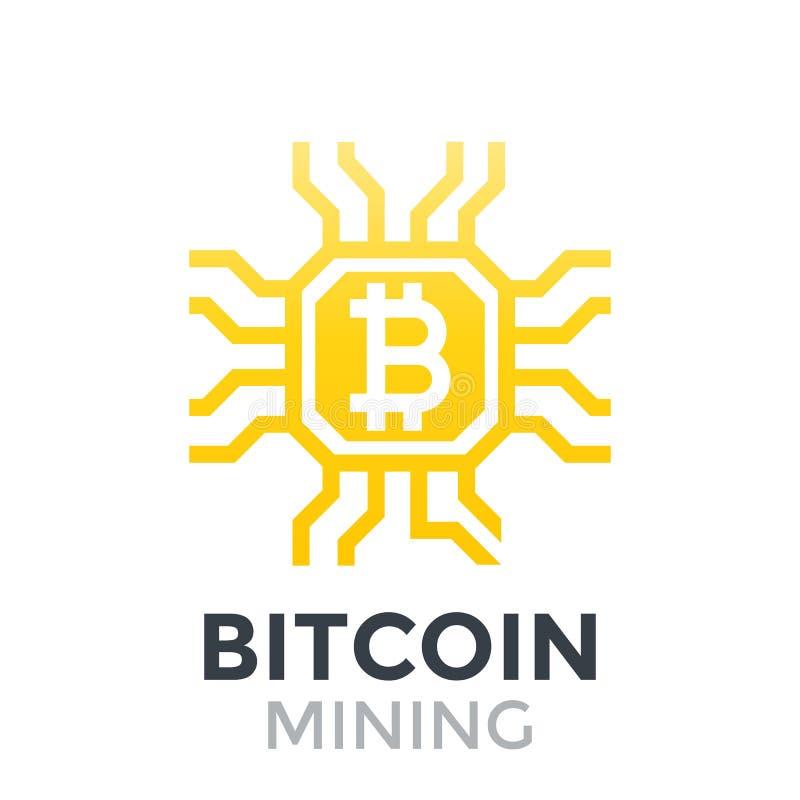Bitcoin mining icon stock illustration