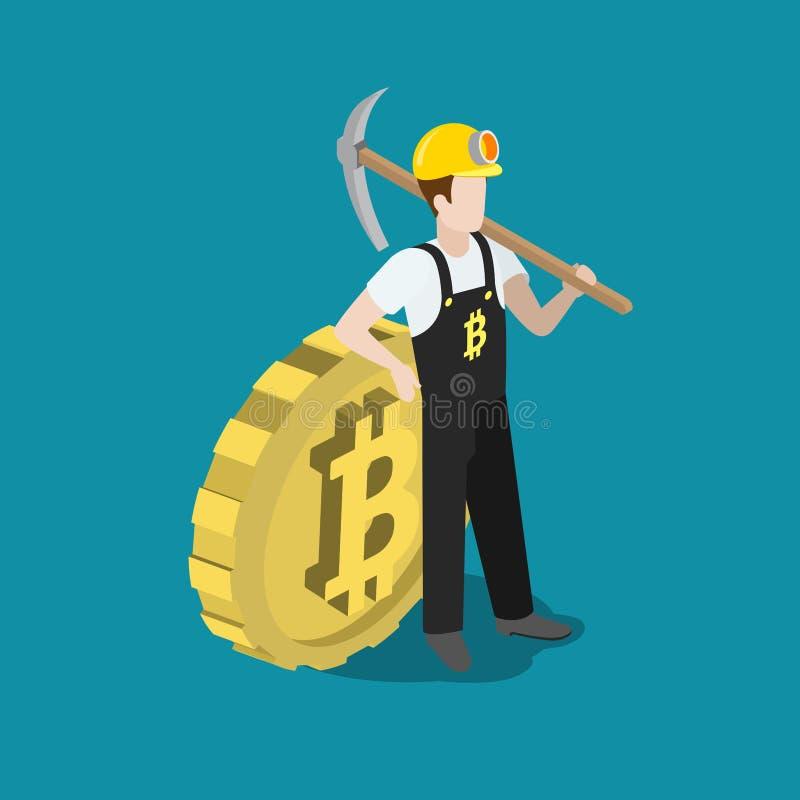 Bitcoin mining miner pick bit coin flat 3d vector isometric vector illustration