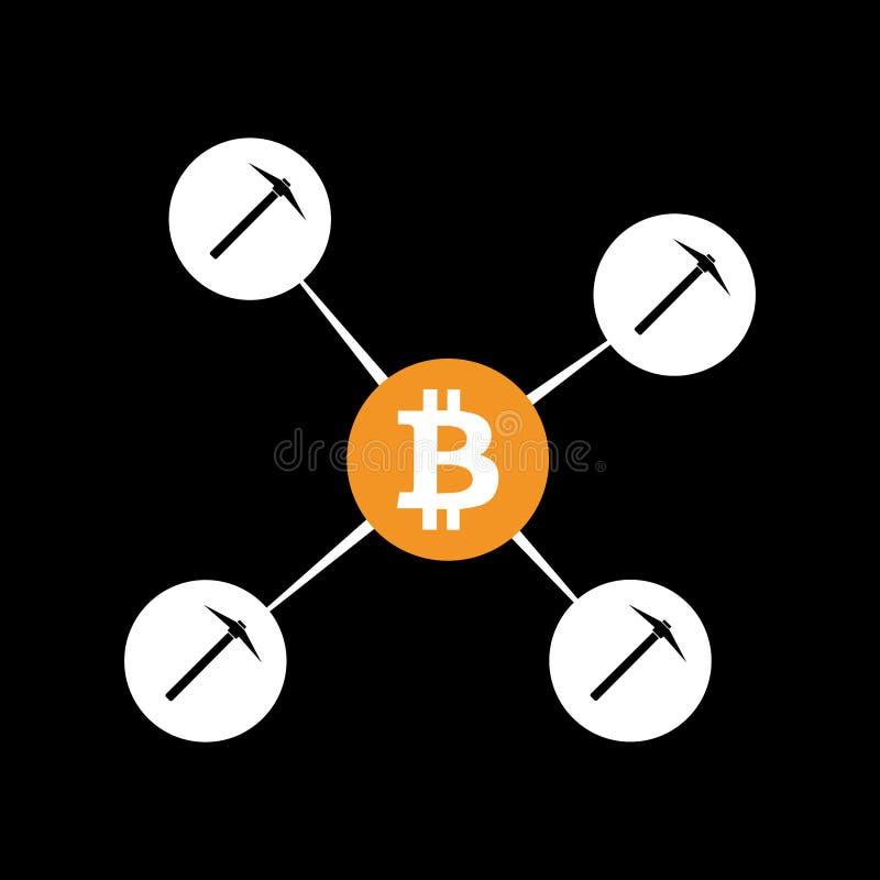 Bitcoin mining pool concept illustration. On a black background stock illustration