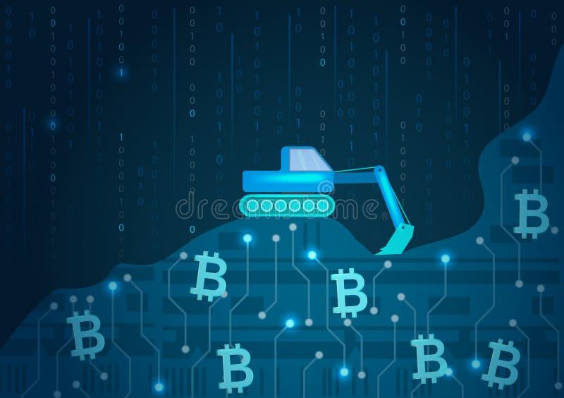 Bitcoin mining vector concept. stock illustration