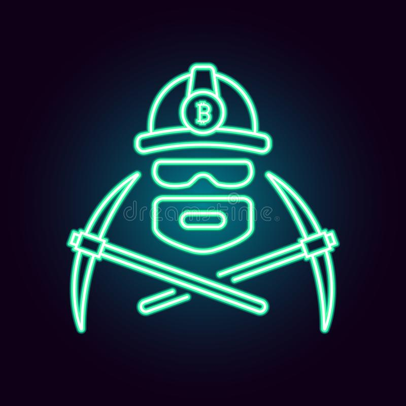 Bitcoin mining vector illustration in neon style. Flat simple linear icon of a worker mining cryptocurrency with stock illustration