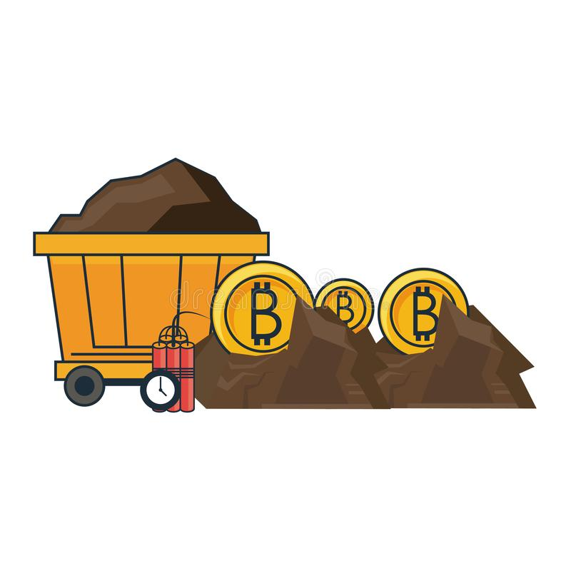 Bitcoin mining with wagon and tnt royalty free illustration