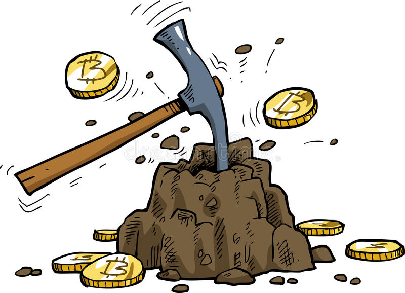 Bitcoin mining vector illustration
