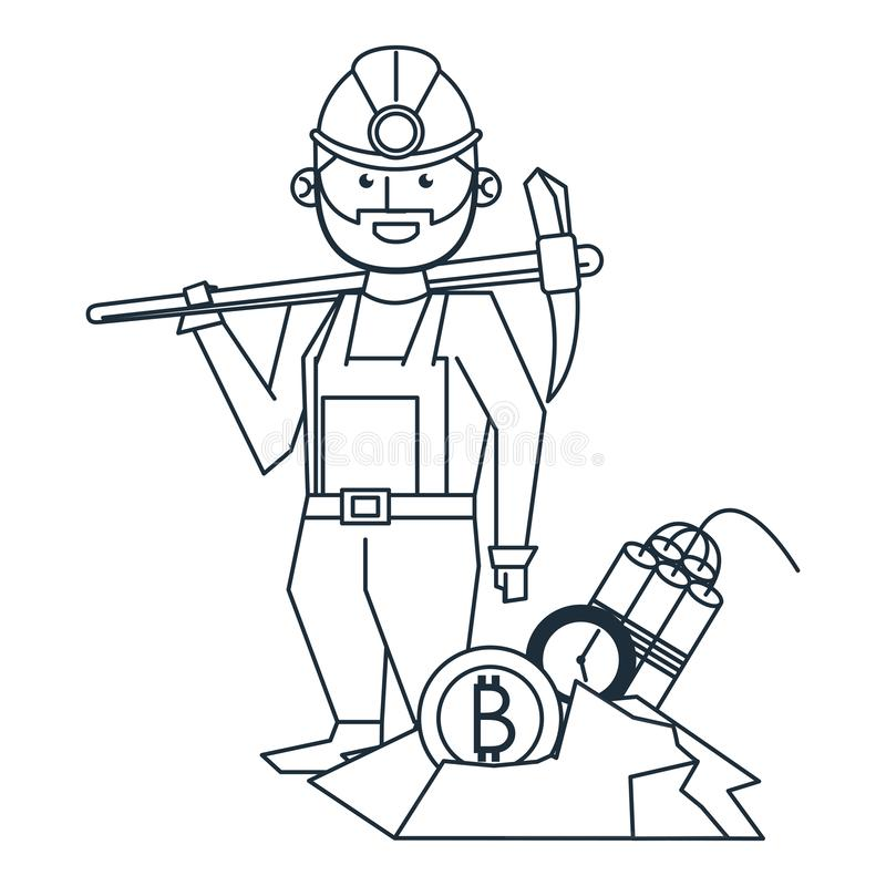 Bitcoin mining worker with pick and tnt stock illustration