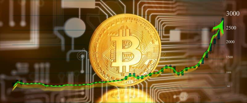 Bitcoin mit Diagramm stock abbildung