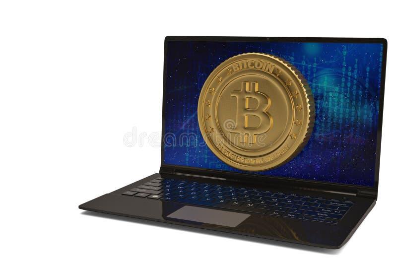 Bitcoin mit Laptop-Computer auf weißer Illustration des Hintergrundes 3D lizenzfreie abbildung