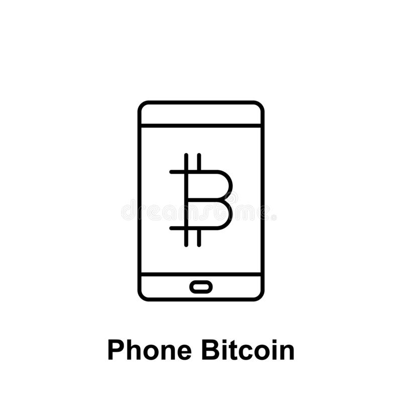 Bitcoin mobile phone outline icon. Element of bitcoin illustration icons. Signs and symbols can be used for web, logo, mobile app stock illustration