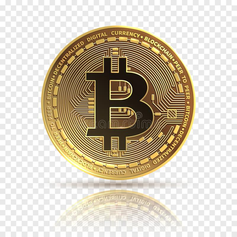 Bitcoin Moneda de oro del cryptocurrency Símbolo del dinero de las finanzas de la electrónica Icono aislado bitcoin de Blockchain libre illustration
