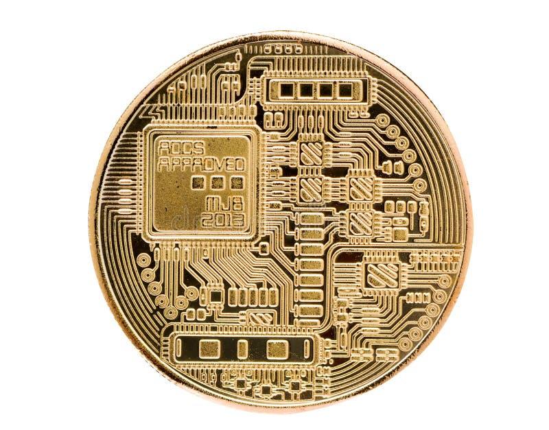 Bitcoin Moneda física del pedazo Moneda de Digitaces Cryptocurrency Moneda de oro con símbolo del bitcoin aislada en el fondo bla foto de archivo libre de regalías