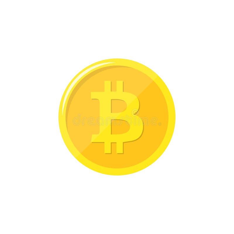 Bitcoin Moneda física del pedazo Moneda de Digitaces Cryptocurrency Moneda de oro con símbolo del bitcoin aislada en el fondo bla ilustración del vector