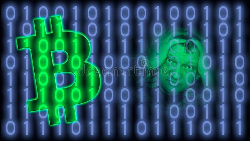 Bitcoin, monedas crypto y sistema de pago mundial virtual fotos de archivo