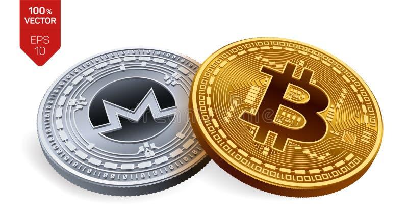 Bitcoin Monero pièces de monnaie 3D physiques isométriques Devise de Digital Cryptocurrency Pièce en argent avec le symbole de Mo illustration libre de droits
