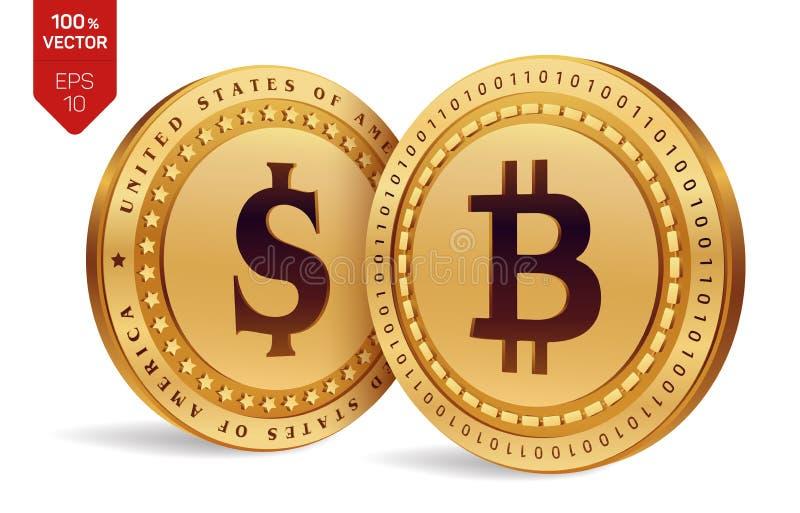 Bitcoin Moneta del dollaro monete fisiche isometriche 3D Valuta di Digital Cryptocurrency Monete dorate con il simbolo i del doll illustrazione di stock