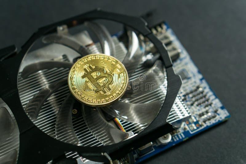 Bitcoin moneta na GPU, Cryptocurrency kopalnictwo Używać Graficzne karty zdjęcia royalty free