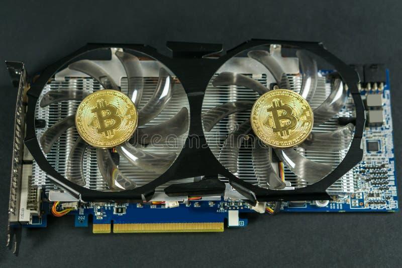Bitcoin moneta na GPU, Cryptocurrency kopalnictwo Używać Graficzne karty obraz stock