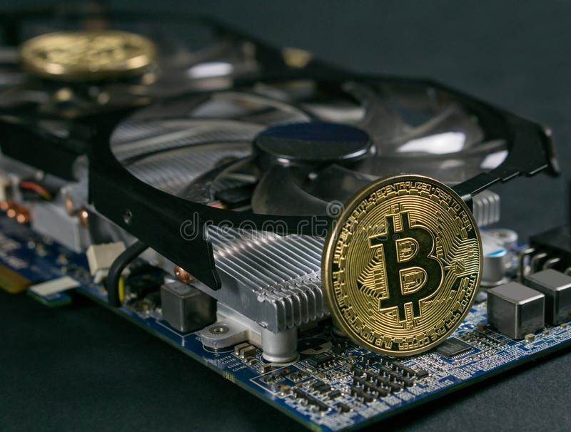 Bitcoin moneta na GPU, Cryptocurrency kopalnictwo Używać Graficzne karty zdjęcie stock