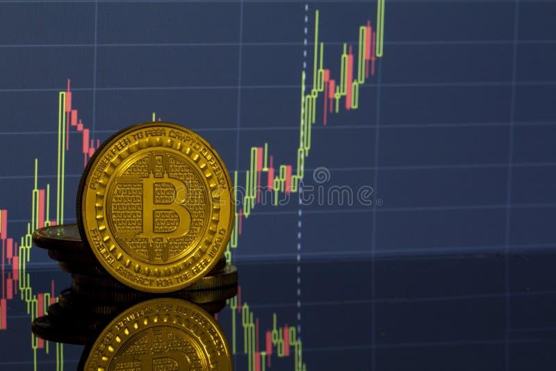 Bitcoin moneta na tło grafika w górę fotografia stock