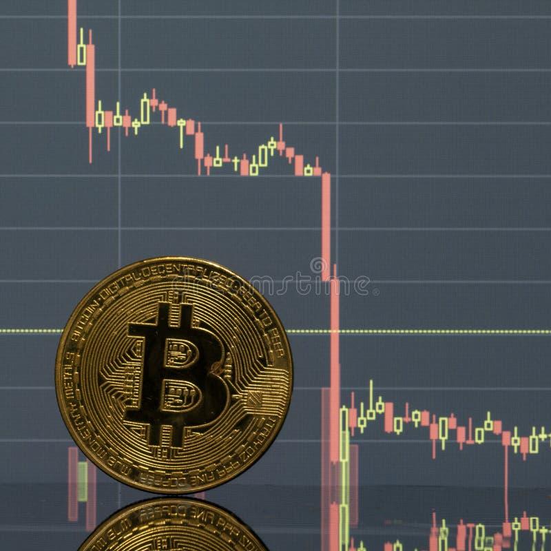 Bitcoin moneta na tło grafika w górę zdjęcia stock