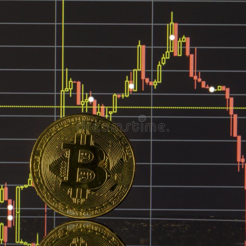 Bitcoin moneta na tło grafika w górę obrazy stock