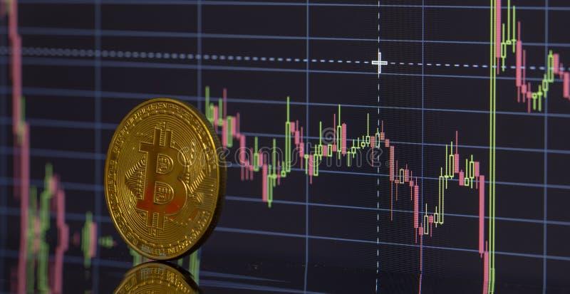 Bitcoin moneta na tło grafika w górę obraz stock