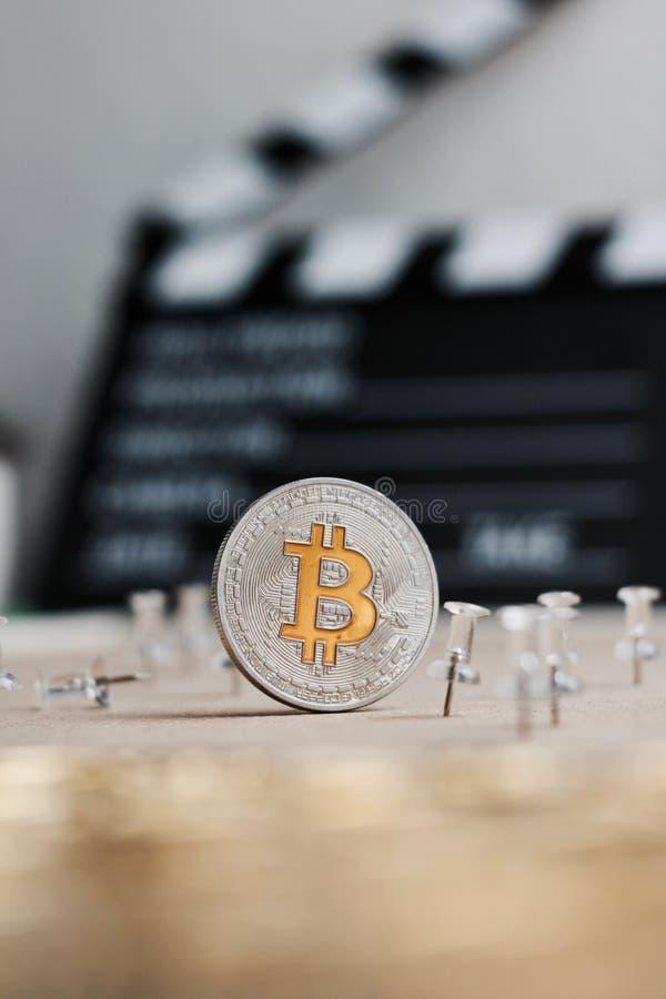 Bitcoin moneta w kinie fotografia royalty free