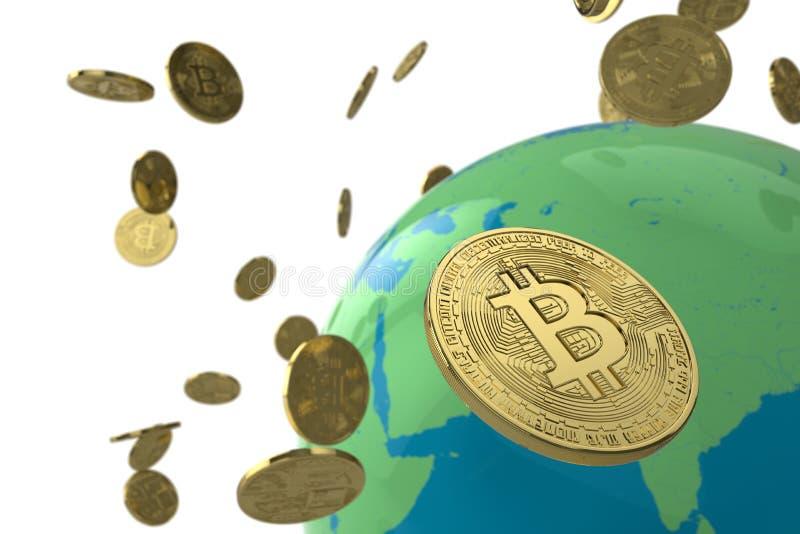 Bitcoin monety kula ziemska obraz royalty free