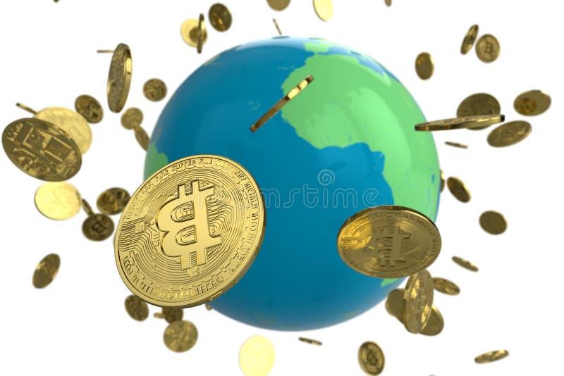 Bitcoin monety kula ziemska obrazy royalty free