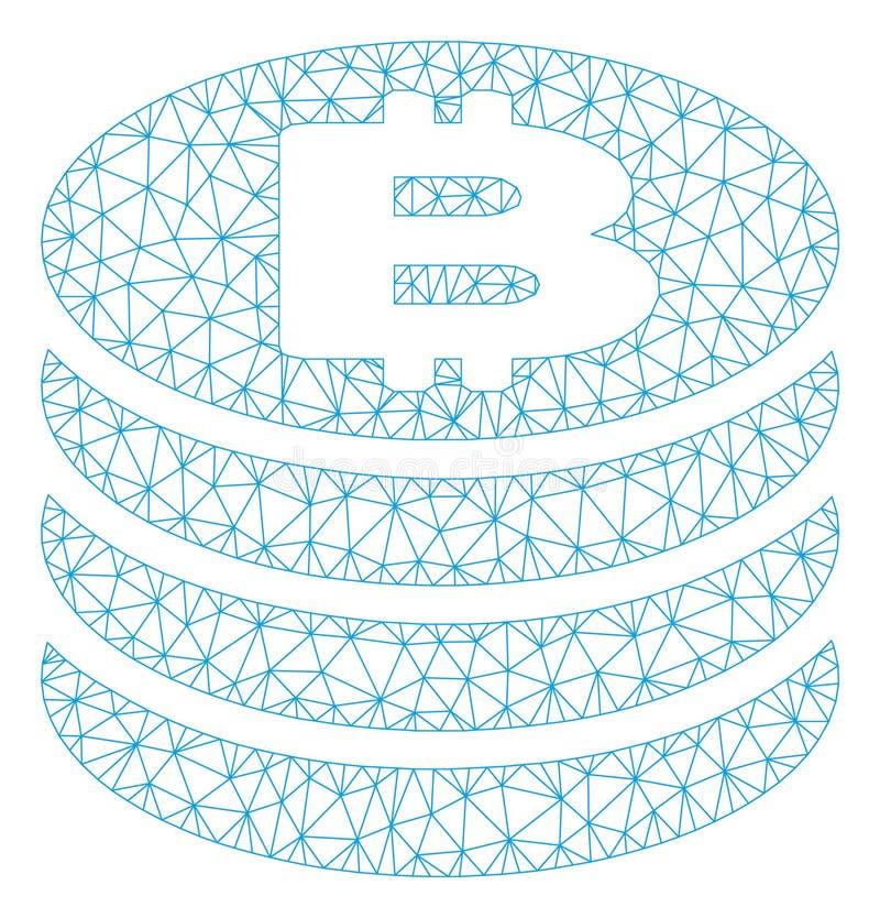 Bitcoin monety siatki sieci Szpaltowy Wektorowy model ilustracja wektor