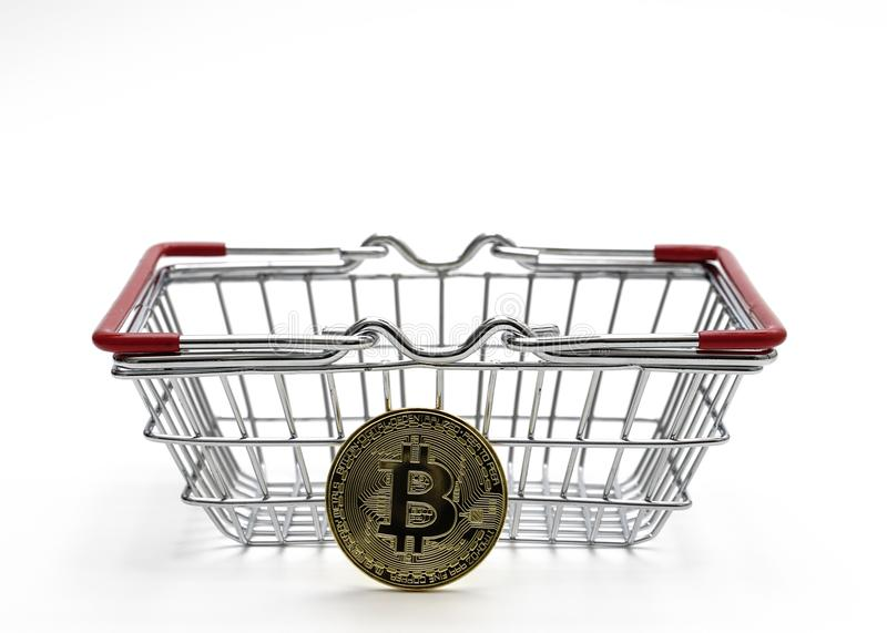 Bitcoin money with Shopping Cart On White Background Shot In Stu stock photos