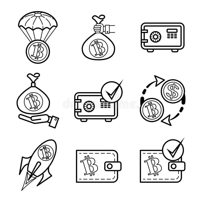 Bitcoin 9 monokromma vektorsymboler ställde in för plats stock illustrationer