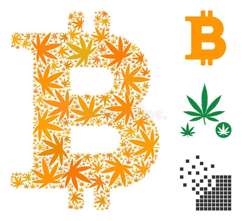 Bitcoin mosaik av cannabis royaltyfri illustrationer
