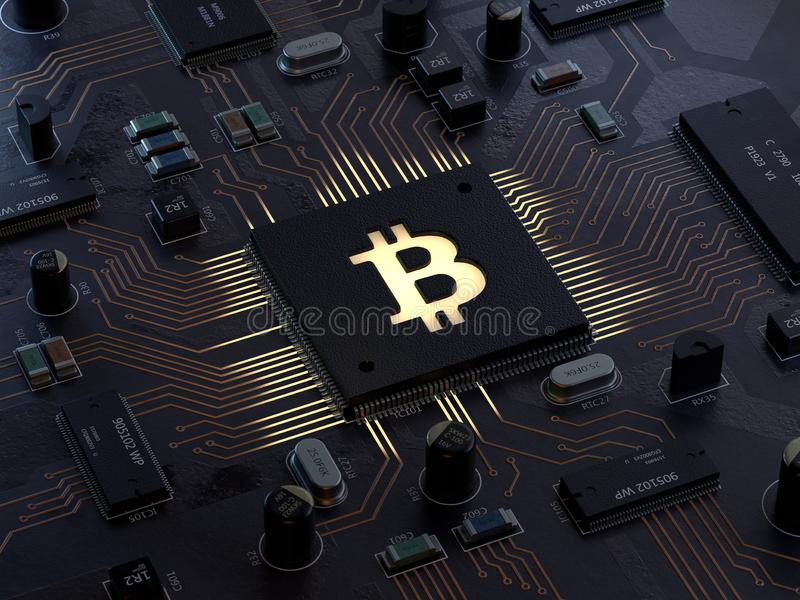 Bitcoin on motherboard. 3d rendering,conceptual image stock illustration