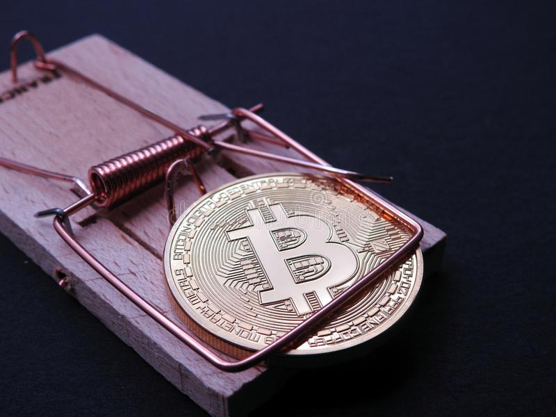 Bitcoin in mouse trap. Bitcoin trapped in a closed mouse trap on black background. Bitcoin investing stays a risky business royalty free stock photos