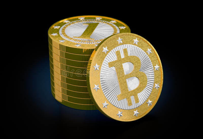 Bitcoin. My own design for Bitcoins. Rendered with Blender 3D royalty free stock image