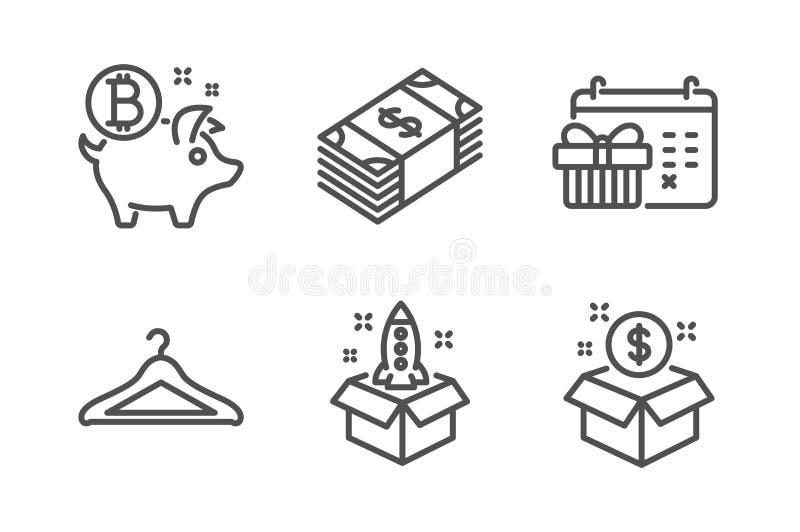 Bitcoin mynt, effektf?rvaring- och startsymbolsupps?ttning Julkalender, Usd valuta och stolpepacketecken vektor vektor illustrationer