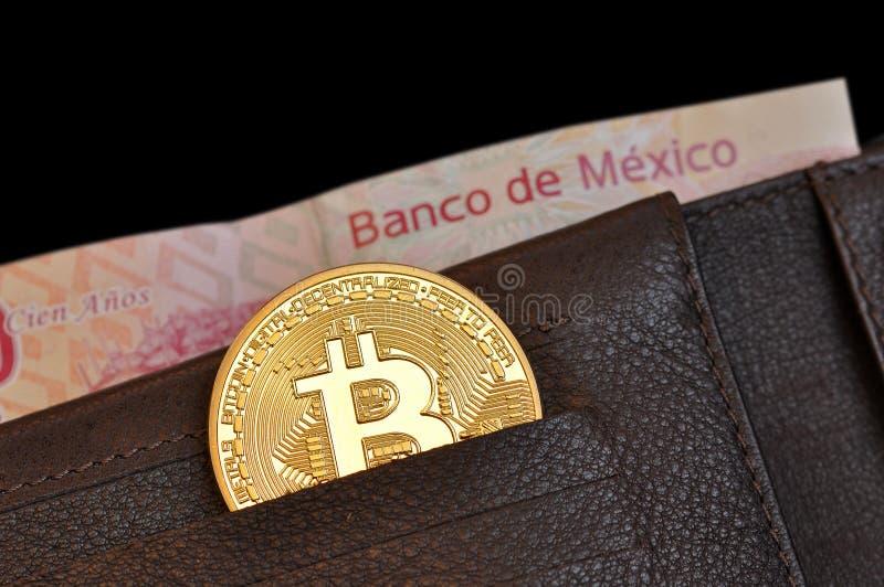 Bitcoin mynt i en plånbokläder- och mexikansedel, bank av Mexiko pesos ut ur fokus arkivbild