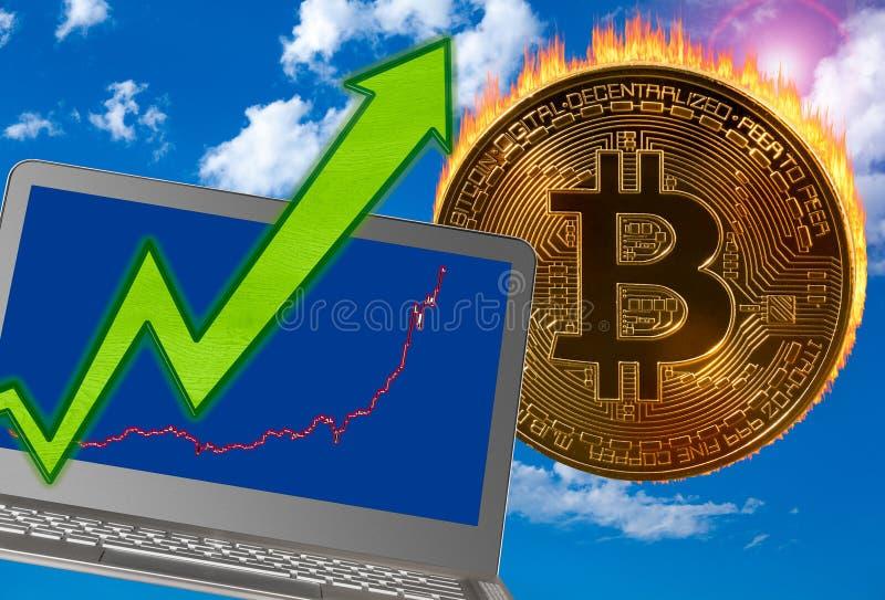 Bitcoin mynt i flammor som prishöjningar stock illustrationer